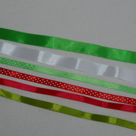 Ribbon Christmas assorted colours total 7 metres.