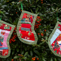 Christmas Stocking Decorations patchwork green.