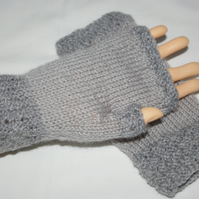 Gloves two tone adult grey fingerless gloves