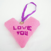 Heart Decoration knitted in Pinks