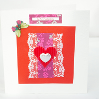 Hand made Valentine Day Card with hearts, lace and butterfly