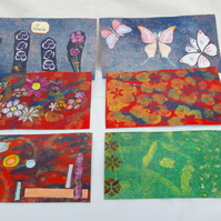 Six mixed media abstract Art Postcards