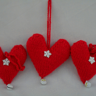 Three Red Christmas Heart Decorations