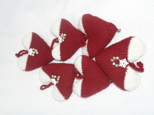 Christmas Heart Decorations Six knitted in maroon and white