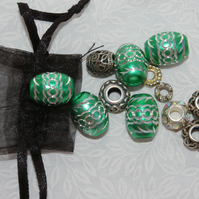 Mixed Metal Beads green beads, filigree beads and engraved beads