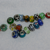 European Glass Lampwork Beads Mixed Bag of Seventeen Beads