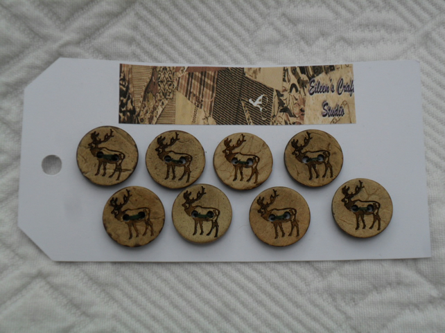 Buttons Coconut Shell Buttons with decoration of a Stag