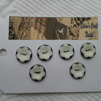 Buttons Six Black and White Flower Buttons