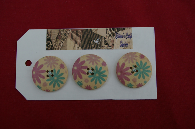Buttons Three Extra Large Wood Flower Buttons