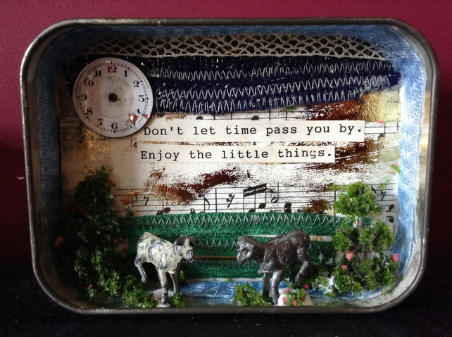 RESERVED for Claire: Vintage altered art tin. Lambs, sprig, youthfulness.