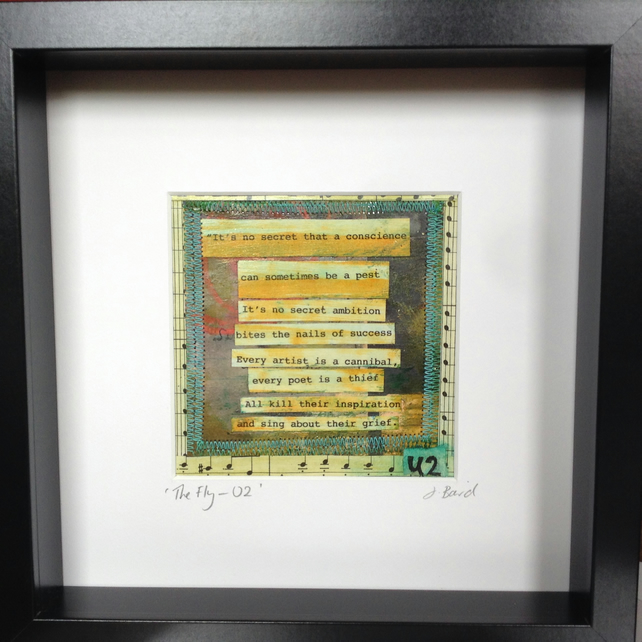 U2 Fly Lyrics - mixed media art.  Son, music, framed