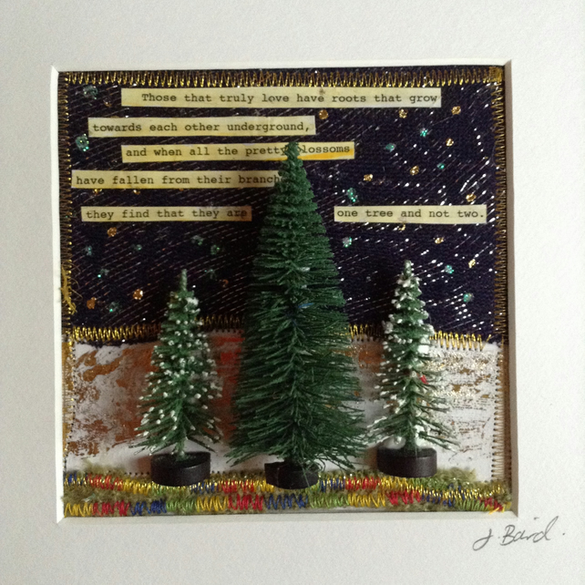 Mixed media picture. Trees, miniature, literature. Quotes, romance, wedding gift
