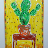 Cactus - two armed bandit. Original oil pastel drawing framed in gold.  Plants