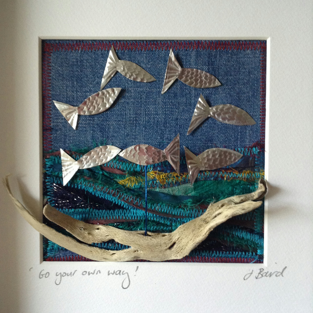 Go you own way. Art, Fish, driftwood, ocean, silver. mixed media, home decor