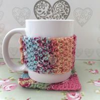 Hand knit mug cosy and matching coaster mat
