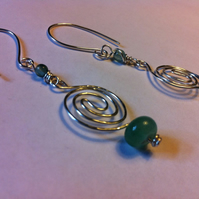 aventurine swirls. sterling silver drop earrings