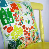 SALE ITEM hand-printed, organic cotton cushion cover, piped, vintage inspired.
