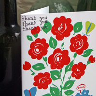 SALE ITEM Thank you greeting card with roses, butterflies, colourful print.