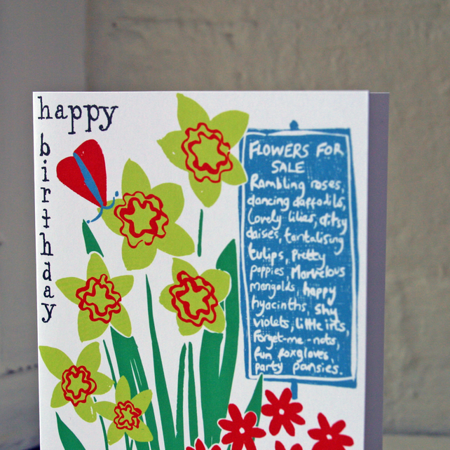 Happy birthday greeting card, flowers and butterflies.