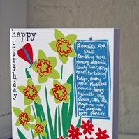 SALE ITEM Happy birthday greeting card, flowers and butterflies.