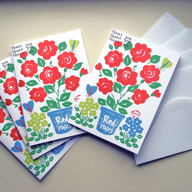 Thank you cards pack of 4.  Roses print illustration with butterflies.