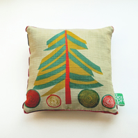 Vintage print children's room, decoration, christmas tree, mini sized cushion
