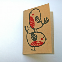 Pack of 4 robin Christmas cards, recycled card, hand printed with lino.