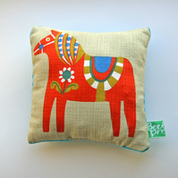 Vintage cushion print, mini pillow, horse print, children's bedroom.