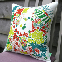 Whimsical hand-printed cushion,linen, vintage inspired for kids and adults alike