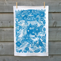 Tea towel, Organic cotton, Garden Birds print, Wall hanging, kitchen textiles.