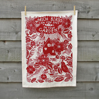 Red T-towel, Organic cotton, Garden Birds print, Wall hanging, kitchen textiles