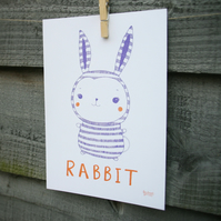 Rabbit drawing, nursery illustration, new baby gift, bunny picture.