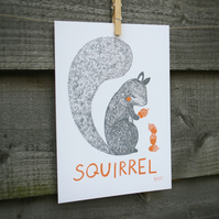 Animal print, squirrel illustration, nursery and children's room wall art