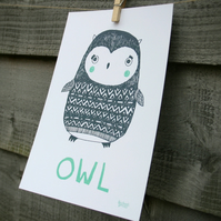 Owl print, nursery illustration, hand drawn animals, archive paper