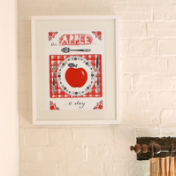 Quirky Apple illustration, modern nursery print, red and black,