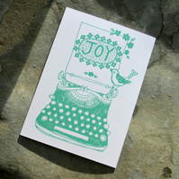Typewriter and Bird blank greeting card, in Mint FSC accredited paper stock