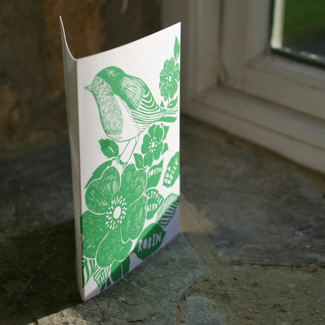Blank greeting card, emerald bird illustration, Eco-friendly on FSC paper.
