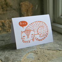 Illustrated Cat 'PURR' card in orange, eco-friendly FSC accredited paper.