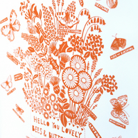 Modern botanical, Bees and butterflies print in orange, A3 archival print.