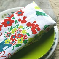 London hand-printed napkin, tea cloth.  Columbia road flower market