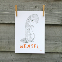 Animal print, WEASEL hand drawn illustration, nursery and children's wall art