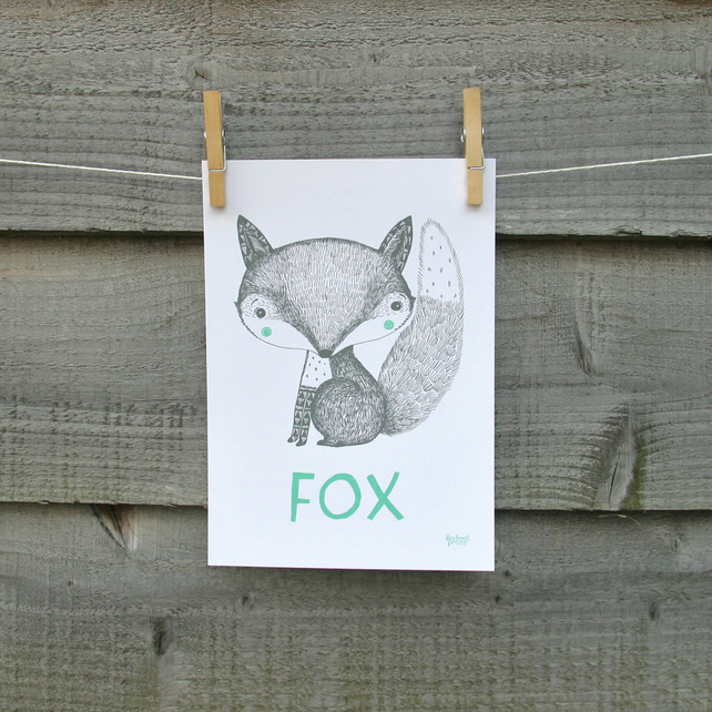 Animal print, FOX hand drawn illustration, nursery and children's room wall art