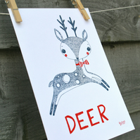 Animal print, DEER hand drawn illustration, nursery and children's wall art