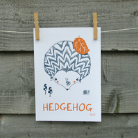 Animal print, HEDGEHOG hand drawn illustration, nursery and children's wall art