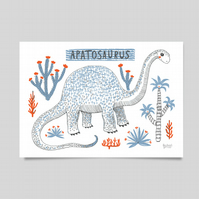 Apatosaurus Dinosaur archival print.  Children's home interiors, wall art