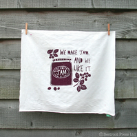 'Blackberry Jam' large hand-printed vintage napkin, tea-towel.