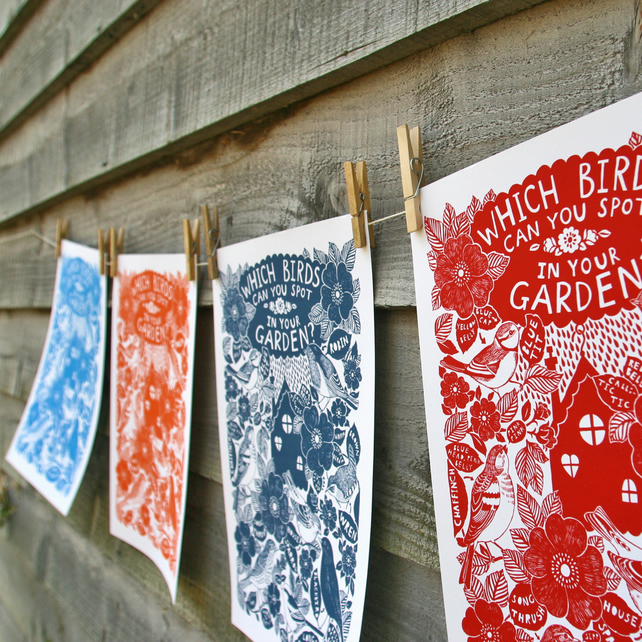 Garden Birds A3 print, one colour, modern botanical with text. Archival paper.