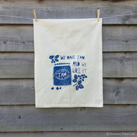 Tea towel, Organic cotton, Blackberry Jam print or wall hanging.