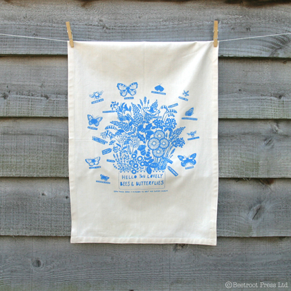 Tea towel, Organic cotton, Herbs, bees and butterflies print or wall hanging.