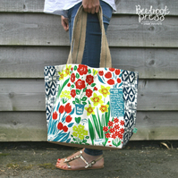 Floral organic hand-screen-printed tote, market bag, shopping bag, beach bag.
